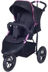 Knorr-Baby 3-Rad Sportwagen Joggy S mit Schlummerverdeck (Schwarz-Pink) [Kinderwagen]